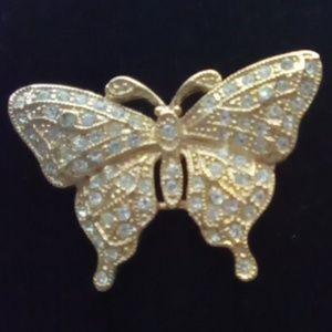Vintage Jewelry - Beautiful Vtg Rhinestone Butterfly Brooch.Signed